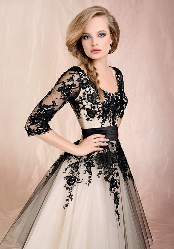 Black White Wedding Dresses 14