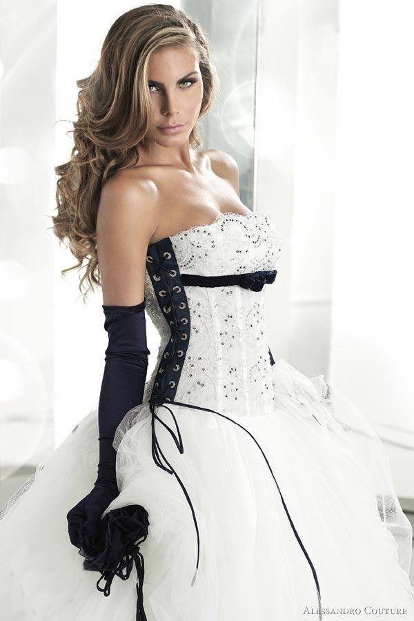 Black White Wedding Dresses 16