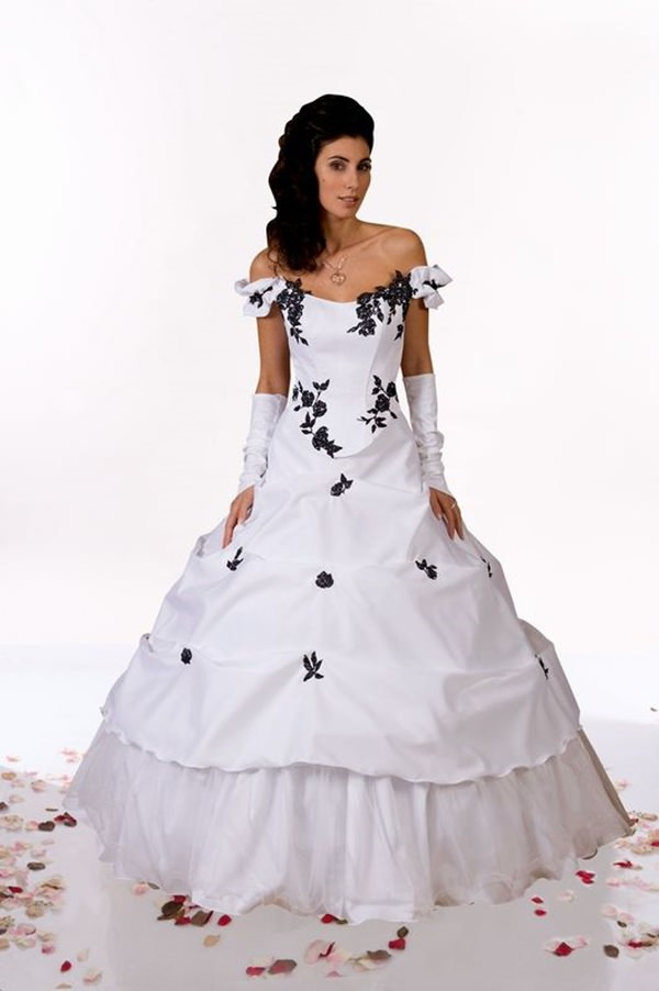 Black White Wedding Dresses 18