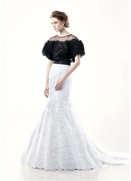 Black White Wedding Dresses 19