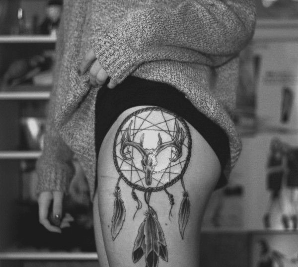 Sexy Thigh Tattoo Ideas and Designs for Women11