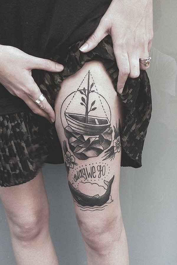 Sexy Thigh Tattoo Ideas and Designs for Women12