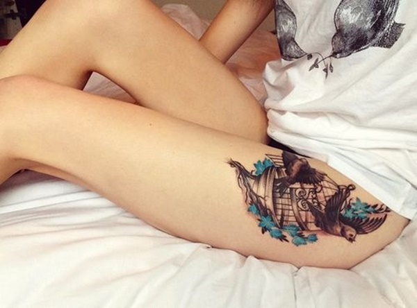 Sexy Thigh Tattoo Ideas and Designs for Women24