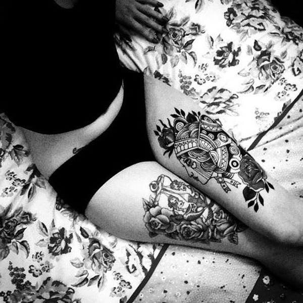 Sexy Thigh Tattoo Ideas and Designs for Women43