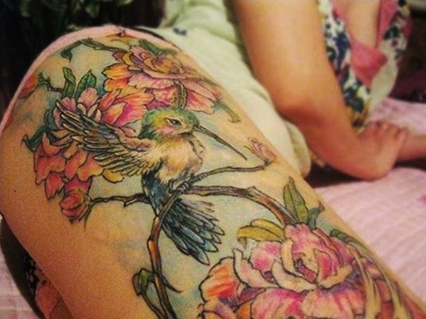 Sexy Thigh Tattoo Ideas and Designs for Women56