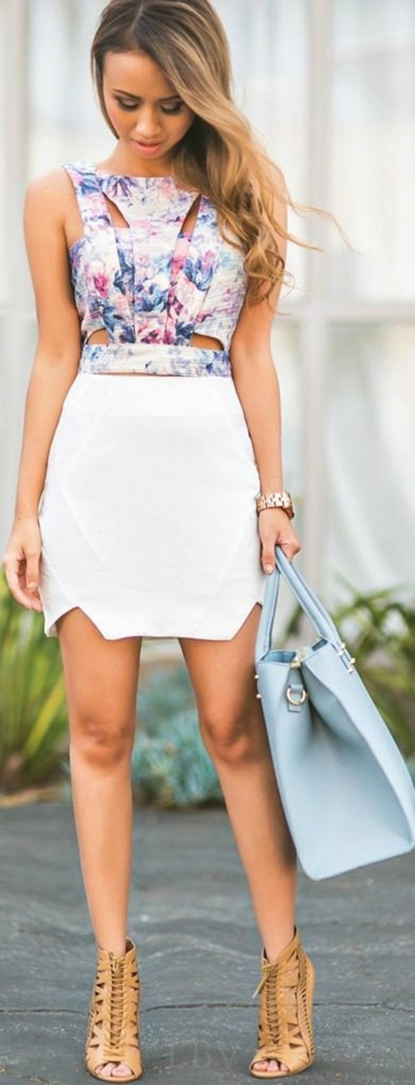 Sexy Tight Short Dresses for Girls36-Multi Color Top and White Skirt