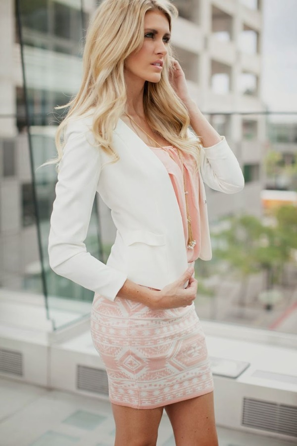 Sexy Tight Short Dresses for Girls44-Light pink tribal skirt and white blazer