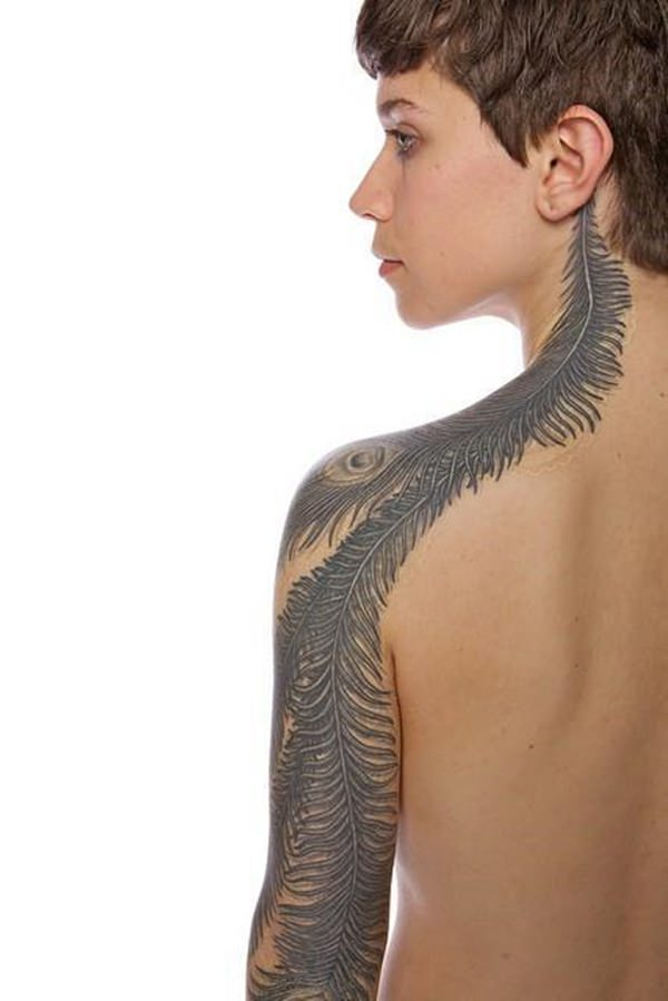Feather Associated with Bird and Freedom Tattoo Design
