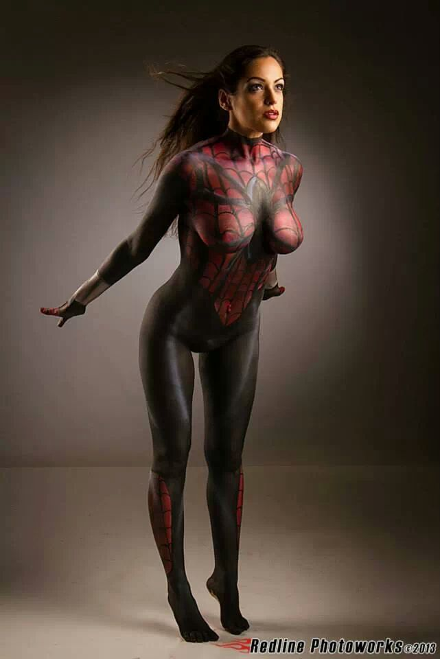 nude painted spiderman girl