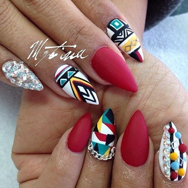Another type of design that has it all: rhinestones, nail art, and solid  colors. So if you can't decide on a single trend to embrace, you don't have  to. - 45 Glamorous Stiletto Nail Designs To Obsess Over (+ Should You Get