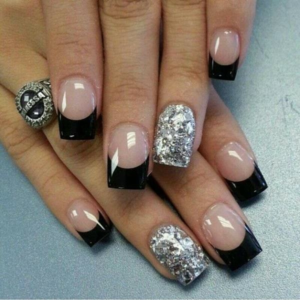55 gorgeous french tip nail designs for a classy manicure the perfect manicure for a crazy night out the combination of black and silver will never go out of style prinsesfo Choice Image