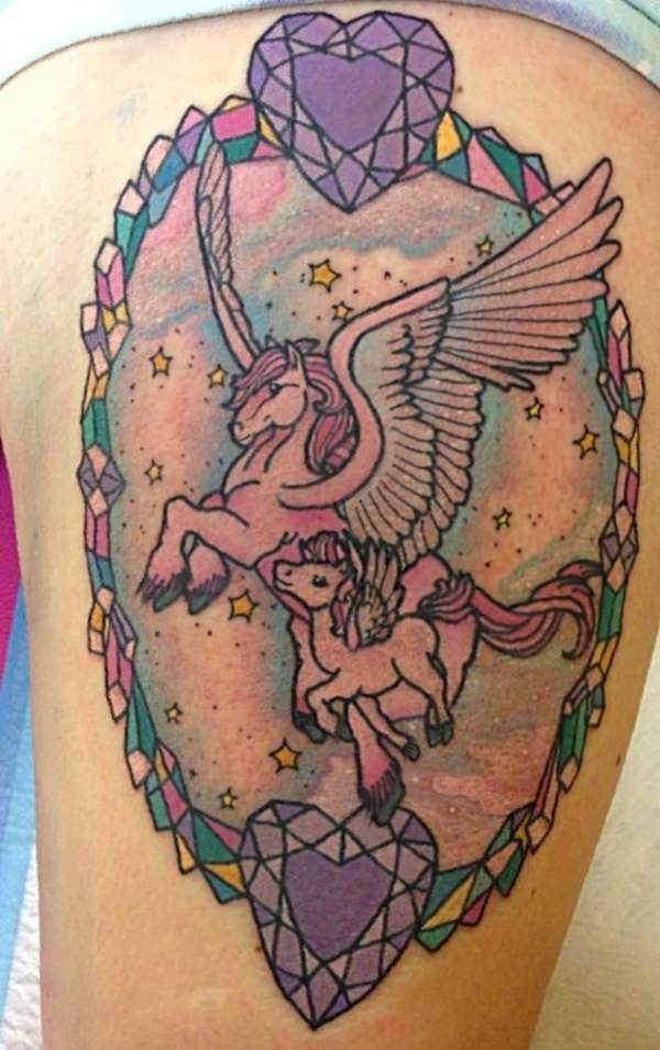 35 unicorn tattoos ranging from majestic to malicious for Unicorn horn tattoo
