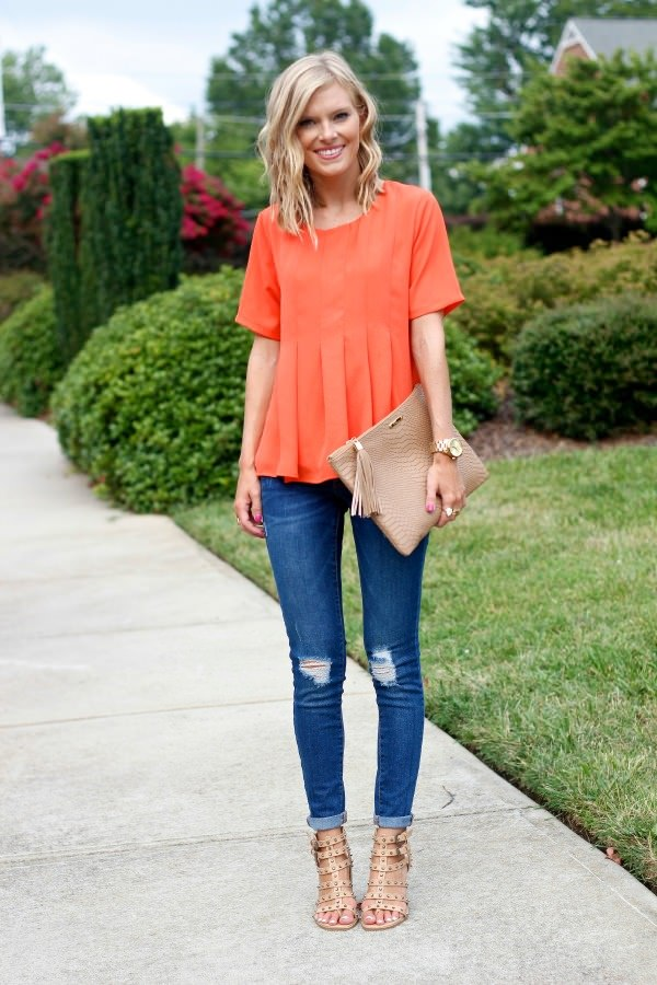 fine orange shoes outfit ideas girl