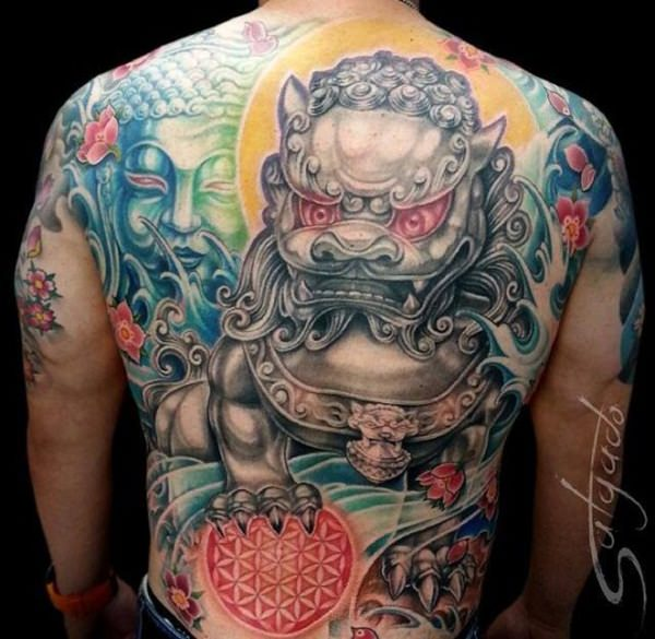 35 ferocious foo dog tattoos teeming with personality. Black Bedroom Furniture Sets. Home Design Ideas